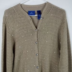jh Collectibles Womens Knitted Sweater Large Tan